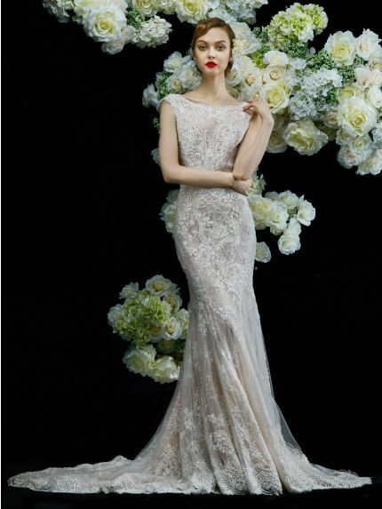 Boat Neckline Mermaid Wedding Dress in Lace