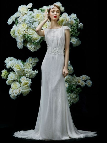 Bateau Neckline Column Wedding Dress with Lace