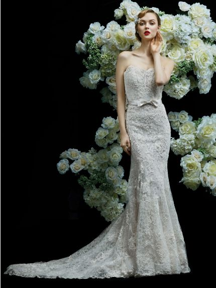 Strapless Neckline Mermaid Wedding Dress with Embellishment