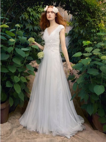 V-Neckline A-Line Wedding Dress in Tulle