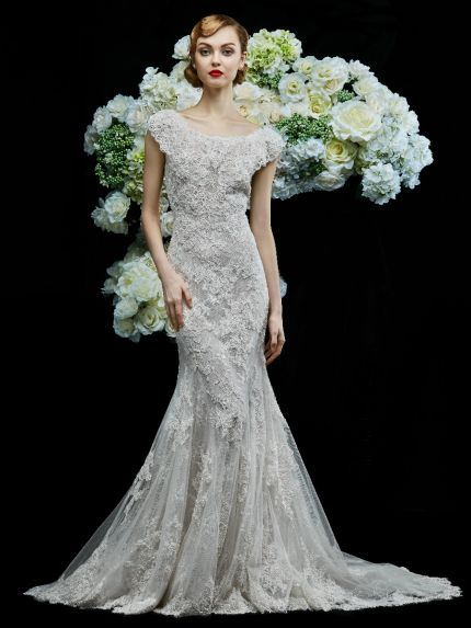 Bateau Neck Mermaid Wedding Dress in Tulle and Embroidered Lace