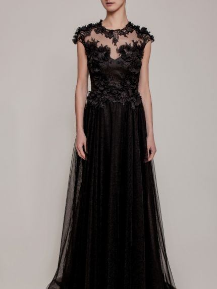 Illusion Neckline A-Line Evening Gown