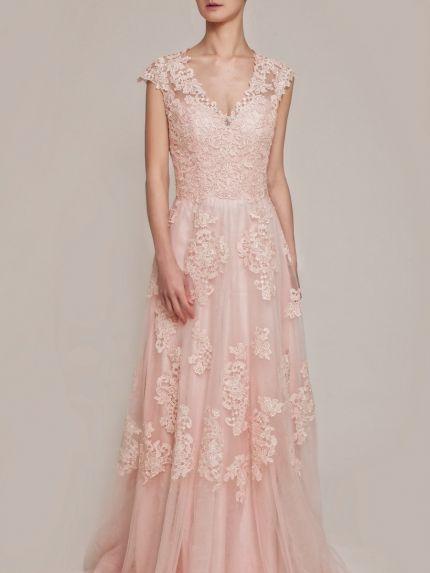 V-Neckline A-Line Evening Gown