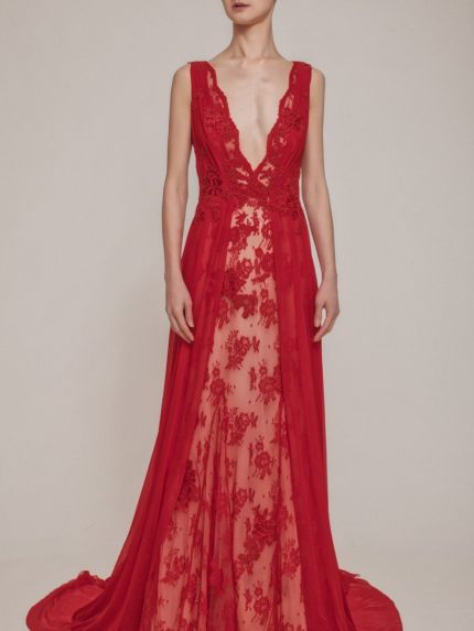 Glamorous V-Neck Lace Evening Gown
