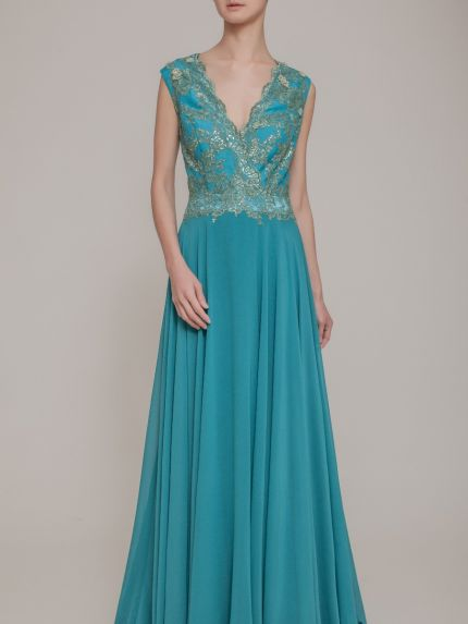 V-Neckline A-Line Evening Gown in Turquoise