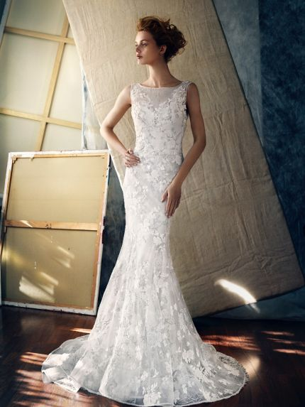 Boat Neckline Mermaid Wedding Dress with Lace