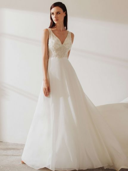 Chiffon V-Neck A-Line Wedding Dress