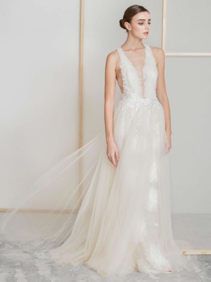 Plunging A-Line Wedding Dress