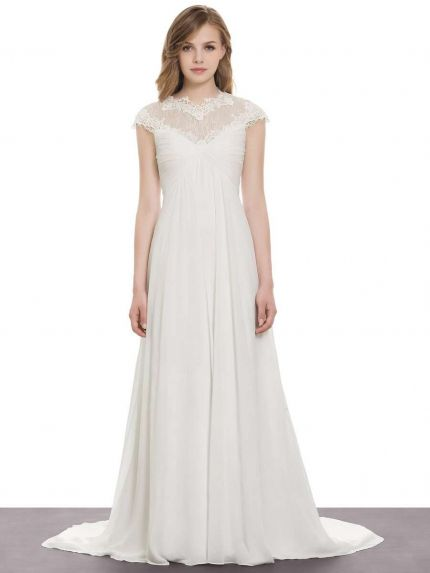 Subtle Chiffon A-Line Wedding Dress