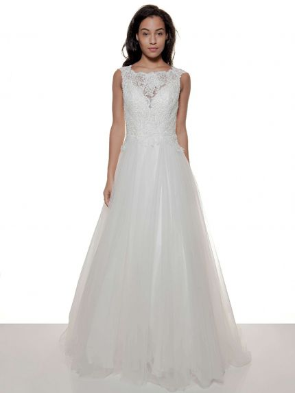 Bateau Neck A-Line Wedding Dress in Tulle