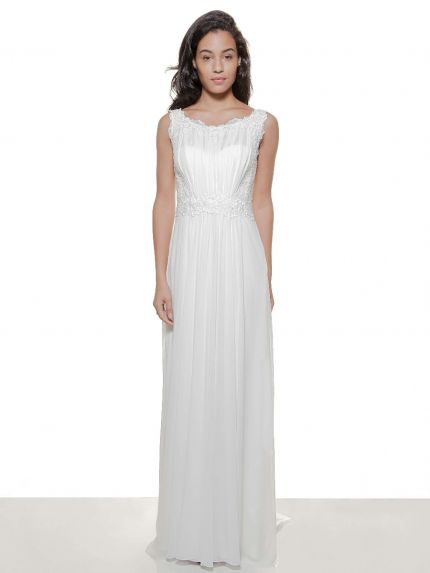Bateau Neck Sheath Wedding Dress in Lace