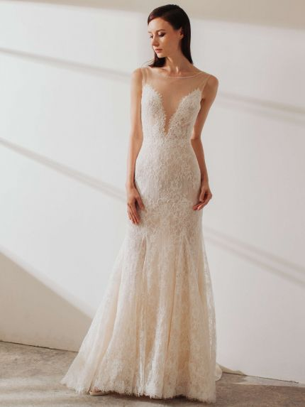 Illusion Bateau Neck Mermaid Wedding Dress