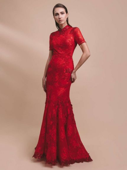 Mandarin Collar Mermaid Evening Dress