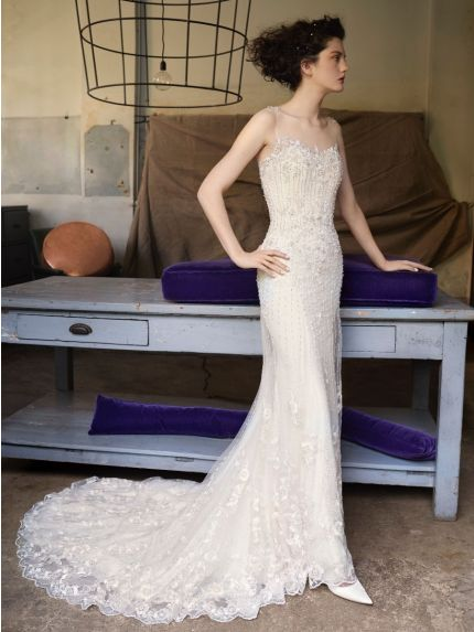 Illusion Neckline Mermaid Wedding Gown in Tulle
