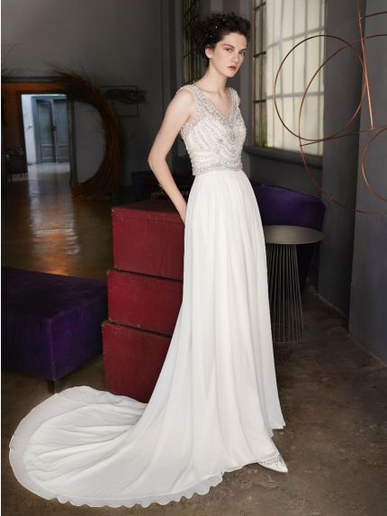 Beaded Chiffon Wedding Dress
