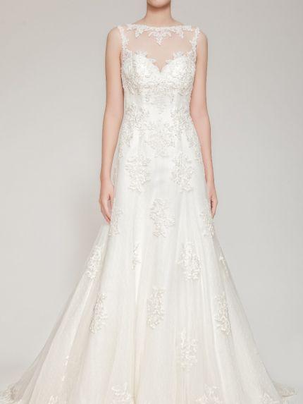 Bateau Neck A-Line Wedding Dress in Tulle with Lace Appliqués