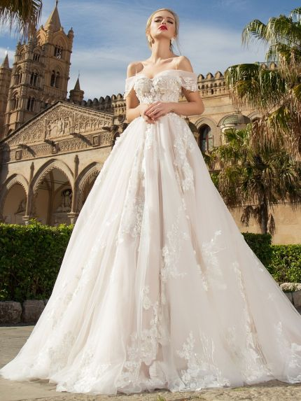 Off-the-Shoulder Neckline Princess Ball Gown in Organza