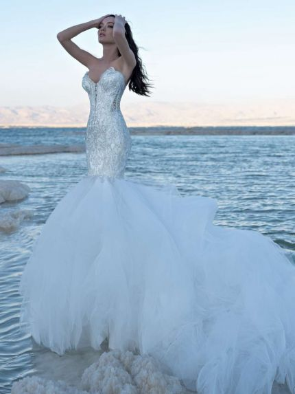 Crystal Embellished Mermaid Wedding Dress