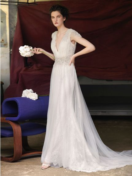 Romantic V-Neck A-line Wedding Gown in Tulle
