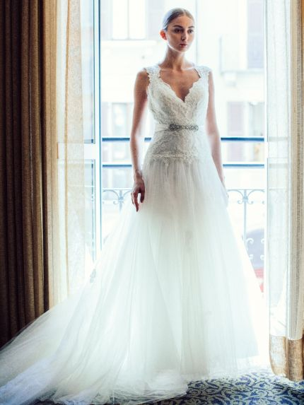 Elegant Jewel Neckline A-Line Wedding Dress