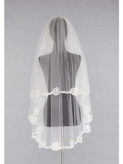 Feminine Metallic Lace Veil