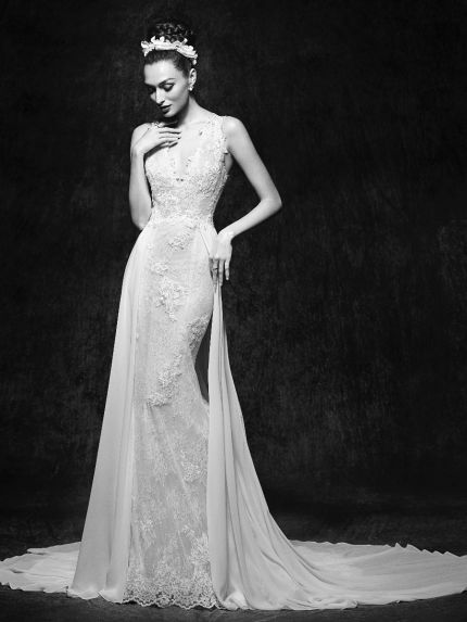 Mermaid Wedding Dress with Chiffon Overskirt