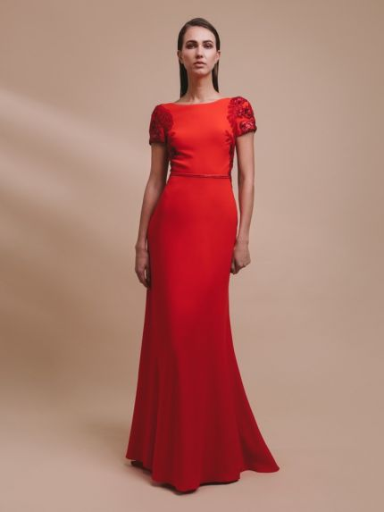 Beaded Red Crepe Evening Dress