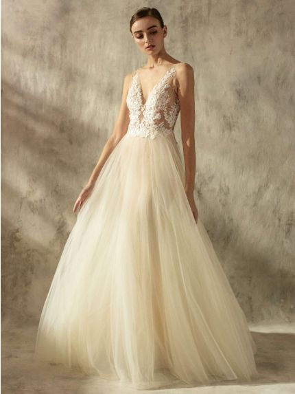 Sheer A-Line Wedding Dress