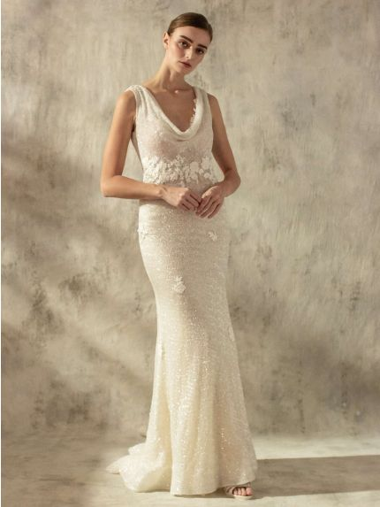 Vintage Cowl Neck Mermaid Wedding Dress