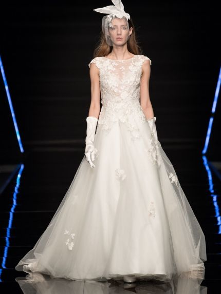 Beaded Flowers Tulle Ball Gown