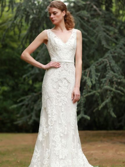 V-Neckline Column Wedding Gown