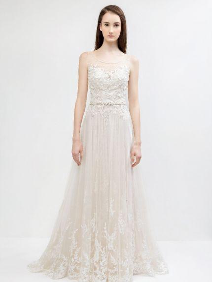 Scoop Neckline A-Line Wedding Dress in Tulle