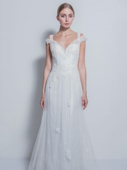 Dreamy V-Neckline A-Line Wedding Dress with Cut-Outs
