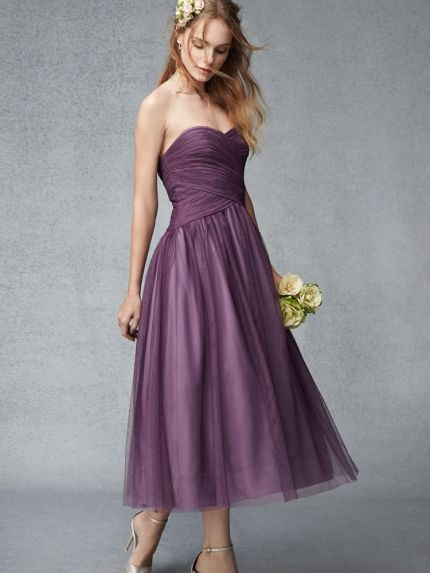 Sweetheart Neckline Tea Length Bridesmaid Dress
