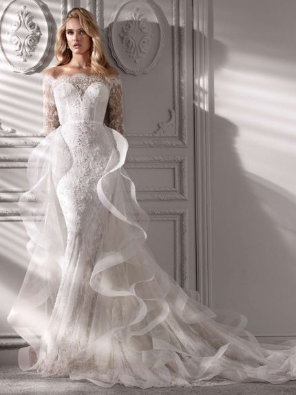Off-Shoulder Lace Mermaid Wedding Dress