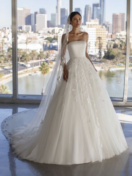 Embroidered Flowers Chiffon Ball Gown