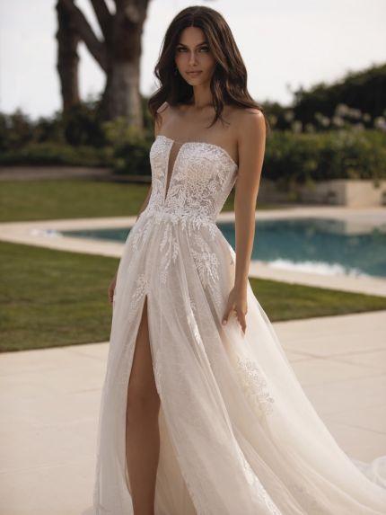 Embroidered High Slit Wedding Dress