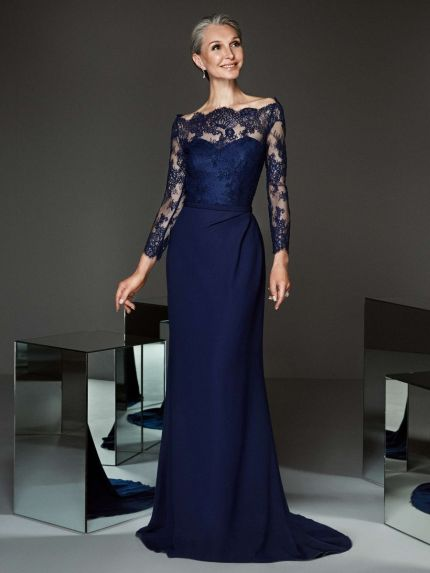 Crepe Sheath Evening Dress with Sleeves