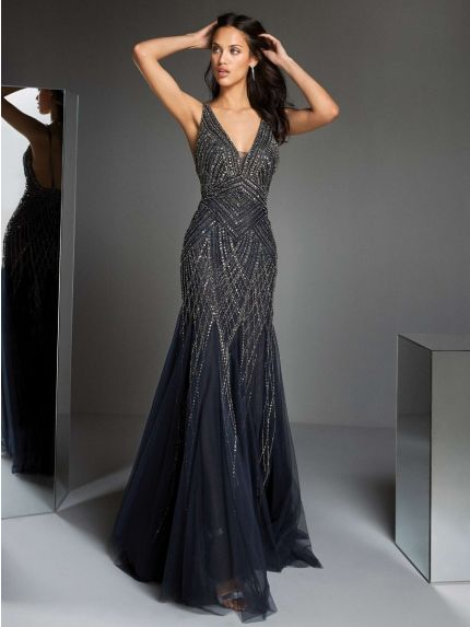 Embroidered V-Neck Mermaid Evening Gown