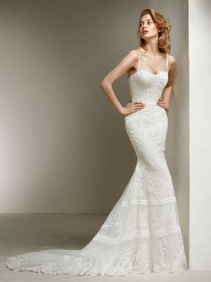 Sweetheart Neckline Mermaid Wedding Dress with Bohemian-styled Lace
