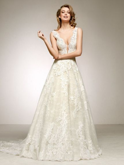 Plunging V-Neckline A-Line Wedding Gown in Lace