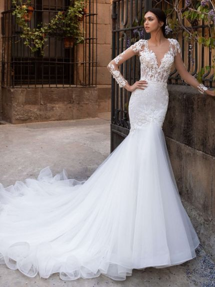V-Neck Long Sleeves Mermaid Wedding Dress