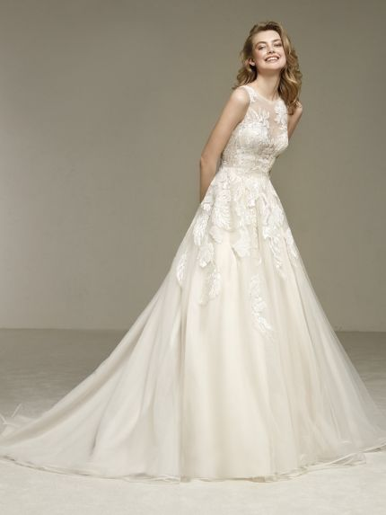 Bateau Neckline A-Line Wedding Gown in Organza