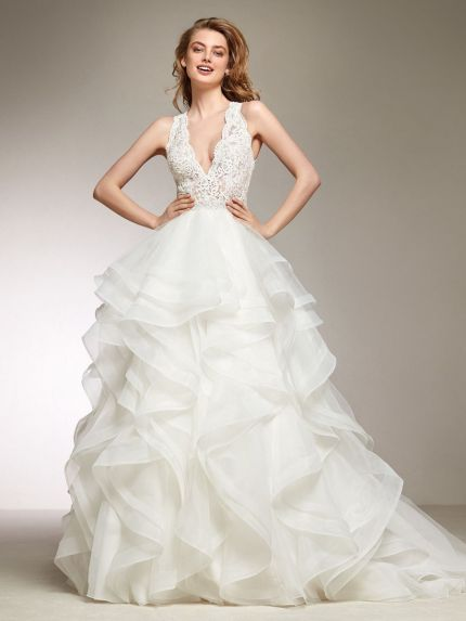 V-Neckline Princess Ball Gown with Flounced Skirt