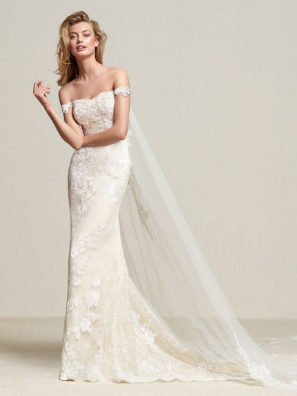Off-the-Shoulder Mermaid Gown with Detachable Cape