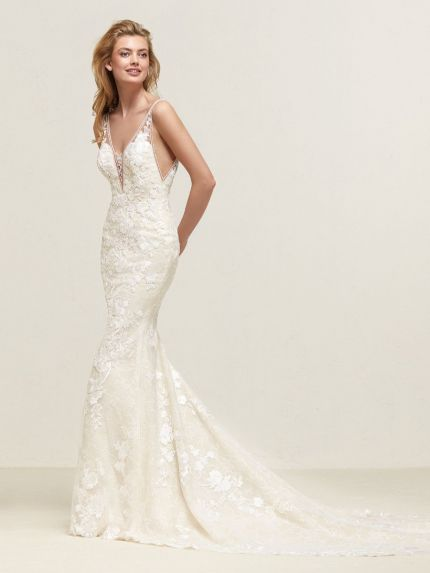 V-Neckline Mermaid Wedding Gown with Low Back