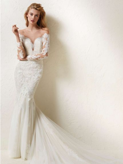 Off-Shoulder Mermaid Wedding Dress in Lace