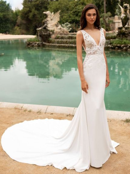 V-Neck Mermaid Wedding Dress in Crepe