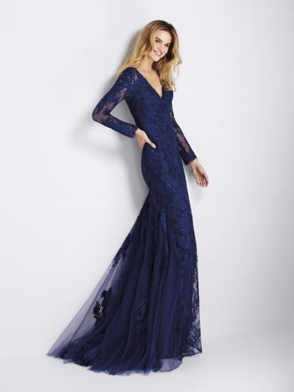 V-Neckline Mermaid Evening Gown in Long Sleeves