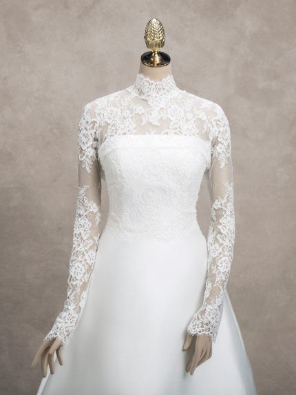 High Neck Long Sleeves Lace Bridal Jacket